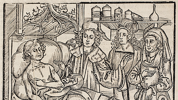 Three Doctors Attend a Man with the Plague