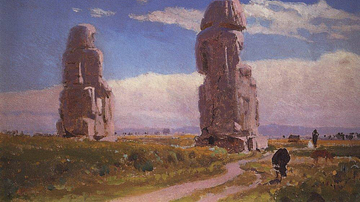 Colossi of Memnon Painting