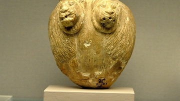 A Stone Mace Head with Lions