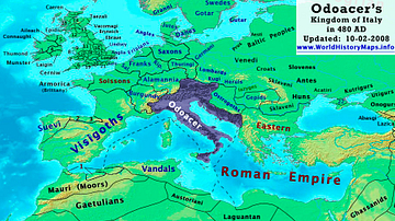 Map of Odoacer's Italy in 480 CE
