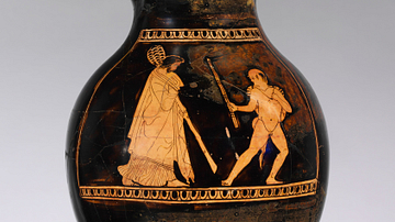 Chous Depicting Dionysos & Satyr