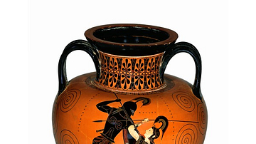 Black-figured amphora (wine-jar) signed by Exekias as potter and attributed to him as painter