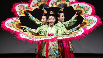 Traditional Korean Dance Group Using Fans