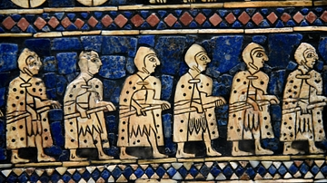 Detail of the War Scene of the Standard of Ur Showing Sumerian Warriors