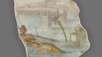 Roman Fresco Fragment with Nilotic Landscape