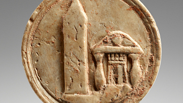 Ivory Token Depicting Egyptian Obelisk and Temple