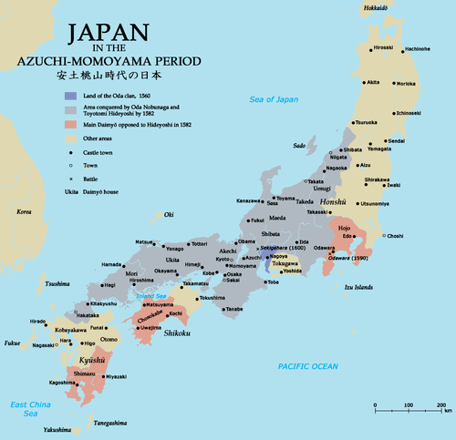 Map of Japan in the 16th Century CE