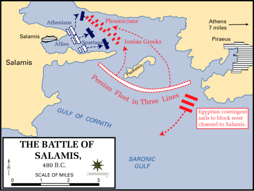 Battle of Salamis, 480 BCE (by Dept. of History, US Military Academy, CC BY-SA)