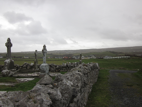 Village of Doolin, Ireland, as seen from the Killilagh Church Ruins