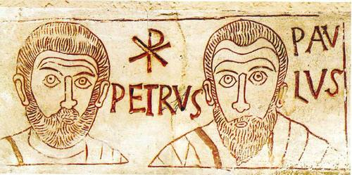 Saints Peter and Paul, from a Catacomb Etching