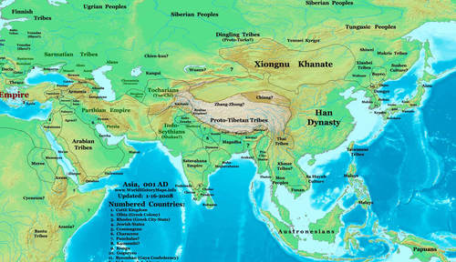 Map of the Eastern Hemisphere (1 CE)