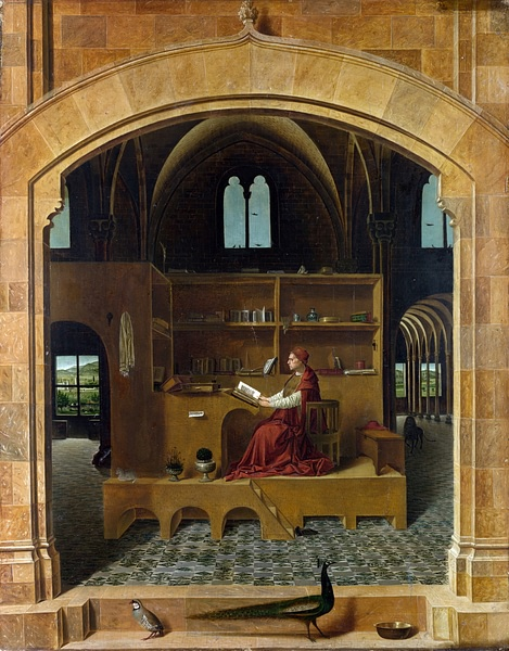 Saint Jerome in his Study by Antonello da Messina (by gallerix.ru, CC BY-NC-SA)