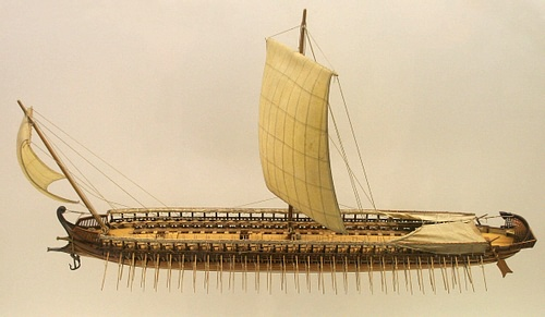 Greek Trireme [Illustration] (by MatthiasKabel & Sting, GNU FDL)
