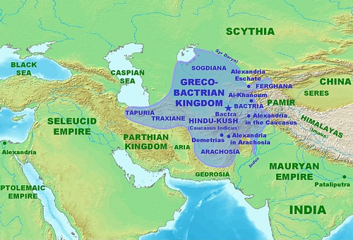 Map of the Greco-Bactrian Kingdom (by PHGCOM, CC BY-SA)