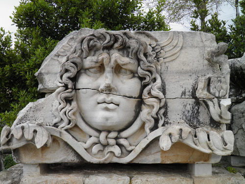 Stone-carved Medusa head from the temple of Apollo at Didyma