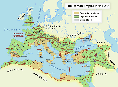 Roman Empire in 117 CE (by Andrei nacu, Public Domain)