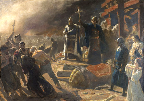 Bishop Absalon topples the god Svantevit at Arkona (by Laurits Tuxen, CC BY-NC-SA)