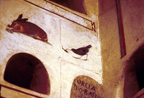 Rabbit Eating Leaves, Blackbird Eating a Cricket, Columbarium of Scribonius Menophilus