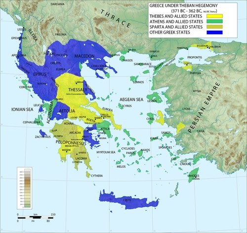 Map of Greece under Theban Hegemony (by Megistias, CC BY-SA)