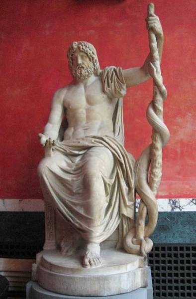 Statue of Asklepios (by Nina Aldin Thune, CC BY-SA)