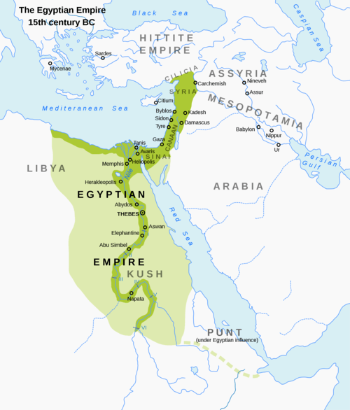 Map of the New Kingdom of Egypt, 1450 BCE (by Andrei Nacu)