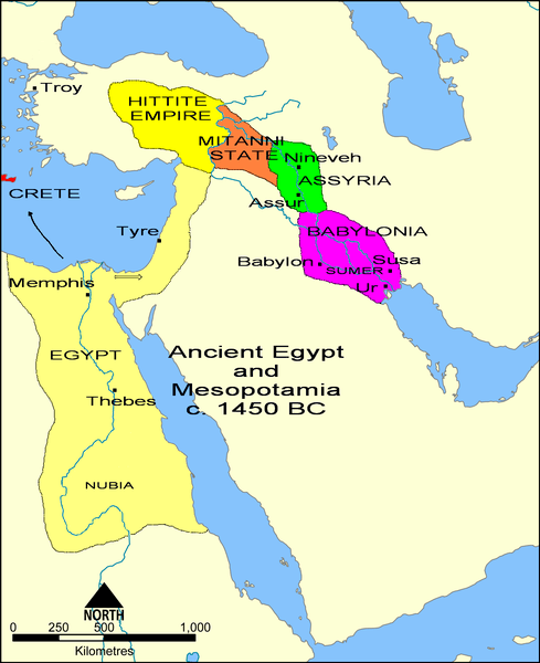 States of the Fertile Crescent, c. 1450 BCE (by Свифт/Svift, Public Domain)