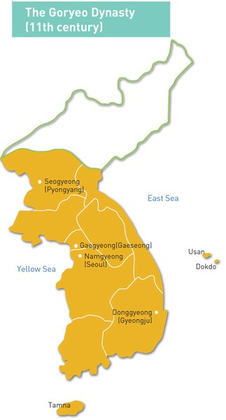 Map of the Goryeo Empire (11th century CE)