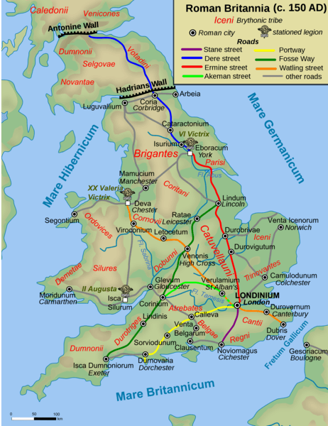 Map of Roman Britain, 150 AD (by Andrei nacu, Public Domain)