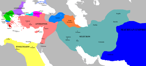 Map of the Successor Kingdoms, c. 303 BCE (by Javierfv1212)