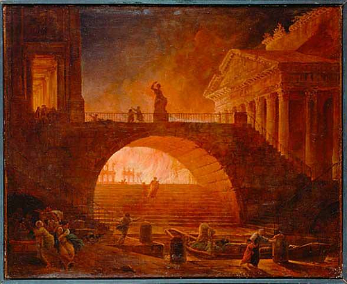 The Great Fire of Rome, 64 CE. (by Hubert Robert, Public Domain)