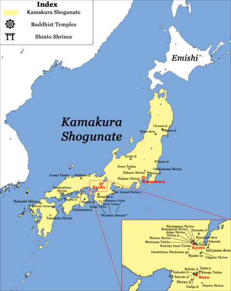 Major Temples and Shrines of Japan circa 1200 CE, Kamakura Shogunate