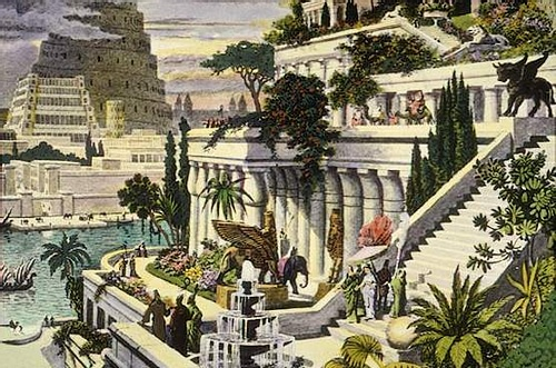 Hanging Gardens of Babylon (by Martin Heemskerck, Public Domain)