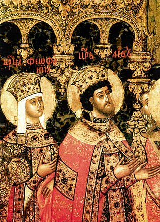 Leo VI & Saint Theophano (by Unknown Artist, Public Domain)