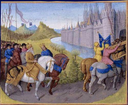 The Second Crusaders Arrive in Constantinople (by Jean Fouquet, Public Domain)