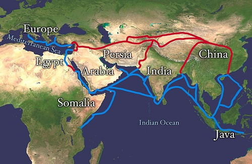 Map of the Silk Road Routes (by Whole World Land And Oceans, Public Domain)
