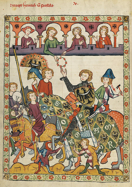 Duke Heinrich von Breslau in the Codex Manesse (by Meister des Codex Manesse (Nachtragsmaler I), Public Domain)