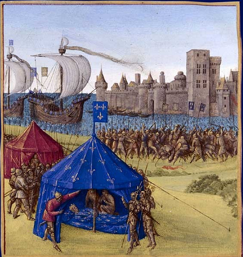 Death of Louis IX at Tunis, 1270 CE (by Jean Fouquet, Public Domain)