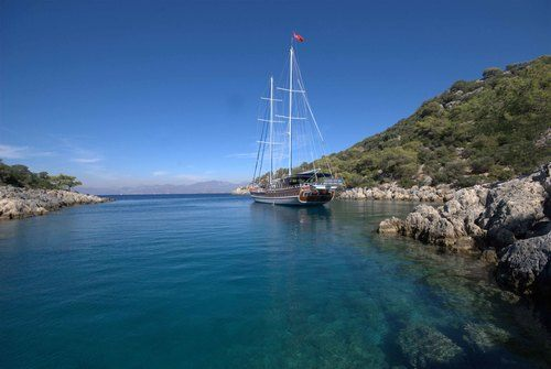 Gulet Anchored at Lycian Coast