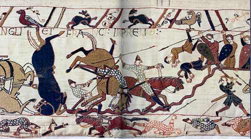 Norman Cavalry at Hastings, Bayeux Tapestry (by Unknown Artist, Public Domain)