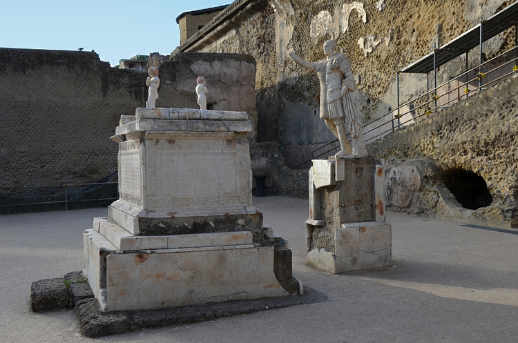 Funerary Altar and Statue of Marcus Nonius Balbus in Herculaneum