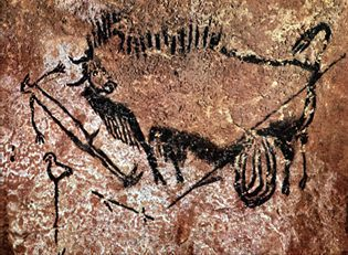 Wounded Bull, Man & Bird, Lascaux Cave