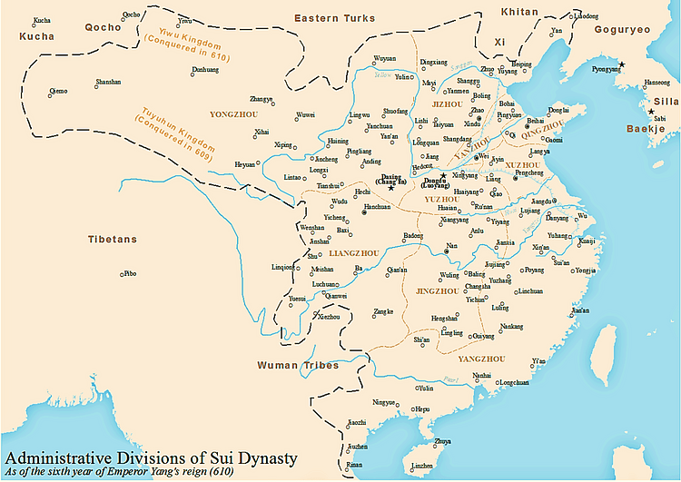Sui Dynasty Map