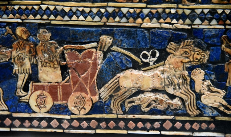 Detail of the War Scene of the Standard of Ur Showing a Galloping Chariot